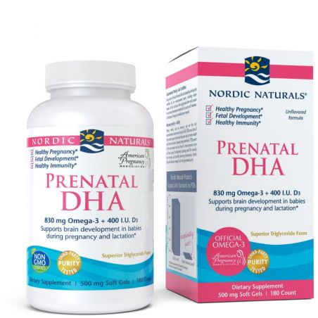Prenatal DHA - Omega 3 830 mg + Witamina D3 400 IU (180 kaps.) Nordic Naturals
