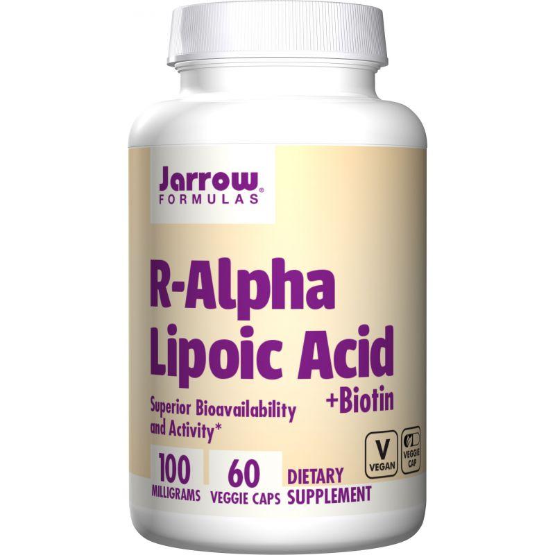 R-Alpha Lipoic Acid - Na-RALA R-ALA - Kwas R-Alfa Liponowy 100 mg + Biotyna 150 mcg (60 kaps.) Jarrow Formulas