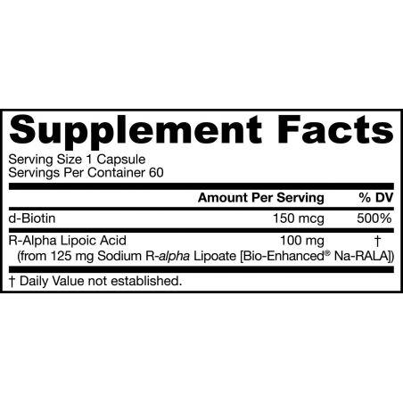 Na-RALA R-ALA - Kwas R-Alfa Liponowy 100 mg + Biotyna 150 mcg (60 kaps.) Jarrow Formulas