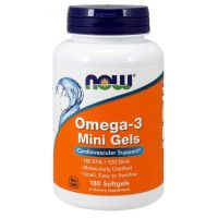 Omega 3 Mini Gels - DHA 120 mg + EPA 180 mg (180 kaps.) NOW Foods