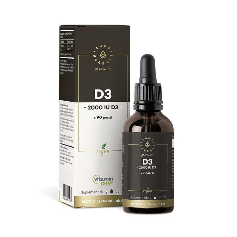 Witamina D3 2000 IU w oleju MCT - Vegan D3V® (50 ml) Aura Herbals Premium