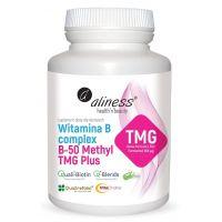 Witamina B Complex B-50 Methyl TMG Plus - Betaina Bezwodna + Taurynian Magnezu + Kompleks wit. B (100 kaps.) Aliness