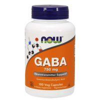 GABA - Kwas Gamma Aminomasłowy 750 mg (100 kaps.) NOW Foods