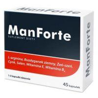 ManForte - L-Arginina + Buzdyganek + Żeń-szeń + Cynk + Selen + Witamina E + Witamina B6 (45 kaps.) Aliness