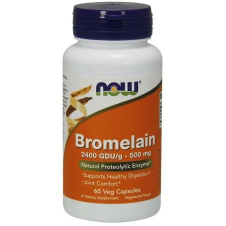 Bromelaina 2400 GDU 500 mg (60 kaps.) NOW Foods