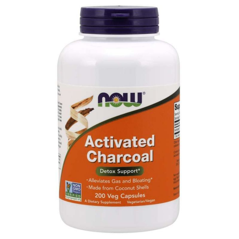Aktywny Węgiel Drzewny - Activated Charcoal 280 mg (200 kaps.) NOW Foods