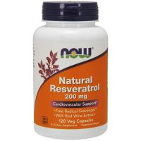 Natural Resveratrol 200 mg - Ekstrakt z Rdestowca Ostrokończystego + Ekstrakt z Czerownego Wina (120 kaps.) NOW Foods