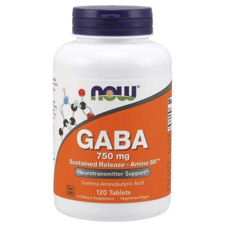 GABA - Kwas Gamma Aminomasłowy 750 mg o przedłużonym uwalnianiu (120 tabl.) NOW Foods
