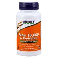 Aloes koncentrat z Liści Aloesu 200:1 + 10 szczepów bakterii probiotycznych (60 kaps.) NOW Foods