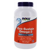 Eco-Sustain Omega-3 - EPA Kwas eikozapentaenowy 180 mg + DHA Kwas dokozaheksaenowy 120 mg (180 kaps.) NOW Foods