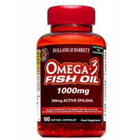Omega 3 Fish Oil 1000 mg - DHA 120 mg + EPA 180 mg (100 kaps.) Holland & Barrett