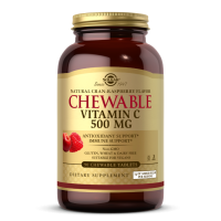 Vitamin C 500 mg Chewable - Witamina C do ssania + Acerola + Dzika róża Smak żurawina-malina (90 tabl.) Solgar
