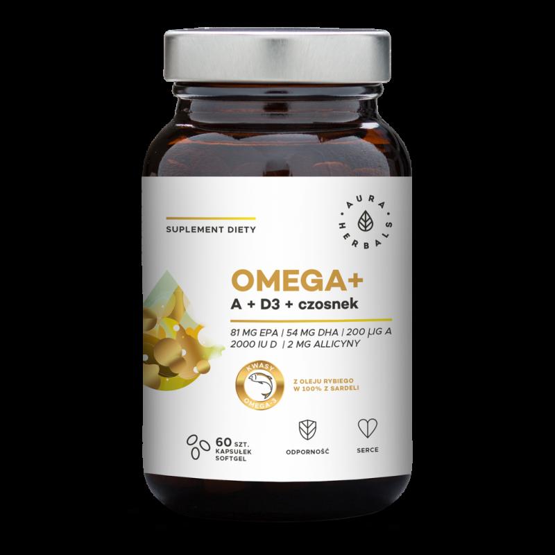 Omega + Witamina A + D3 2000 IU /cholekalcyferol/ + Czosnek (60 kaps.) Aura Herbals