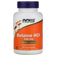 Betaina HCl 648 mg + Proteaza (120 kaps.) NOW Foods