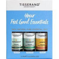 Your Feel Good Essentials Kit - Zestaw olejków eterycznych Mięta pieprzowa + Rozmaryn + Cytryna (3 x 9 ml) Tisserand