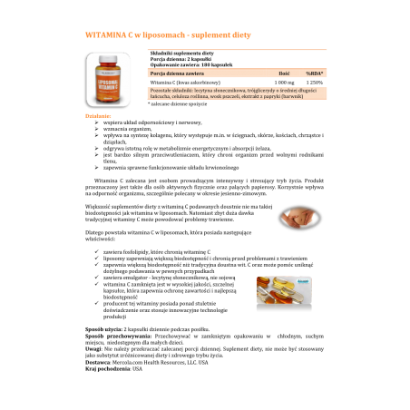 Witamina C w liposomach 500 mg (180 kaps.) Dr Mercola