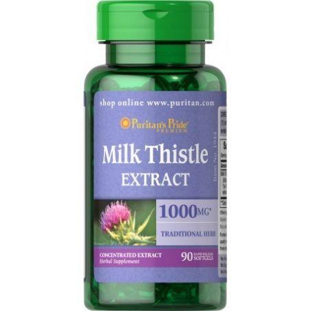 Milk Thistle - Ostropest Plamisty ekstrakt 4:1 1000 mg (90 kaps.) Puritan's Pride