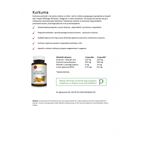 Karta produktu: Kurkuma ekstrakt 10:1 z Piperyną (60 kaps.) Yango