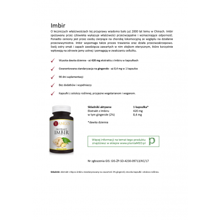 Karta produktu: Imbir standaryzowany - 2% Gingerolu (90 kaps.) Yango