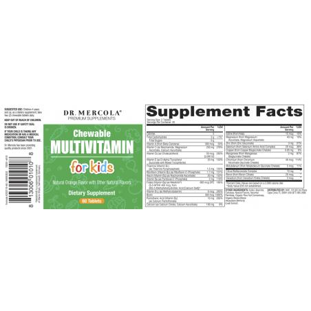 Multiwitamina do żucia dla dzieci - Chewable Multiwitamin for kids (60 tabl.) Dr Mercola - etykieta