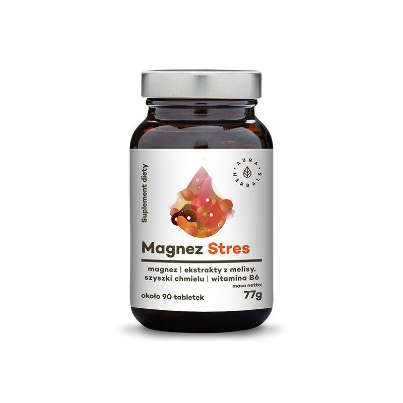 Stres Magnez - Cytrynian magnezu + Melisa + Szyszki Chmielu + Witamina B6 (90 tabl.) Aura Herbals