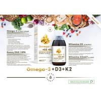 Omega 3 (DHA i EPA) z Witaminą D3 i Witaminą K2 MK7 (200 ml) Aura Herbals