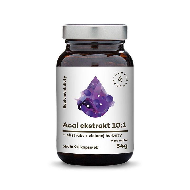 Jagody Acai ekstrakt 10:1 + Zielona Herbata + Witamina C (90 kaps.) Aura Herbals