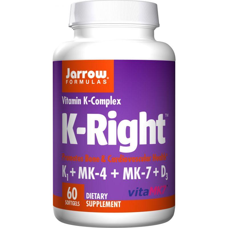 K-Right - Witamina K1 + Witamina K2 MK4 + Witamina K2 MK7 + Witamina D3 (60 kaps.) Jarrow Formulas