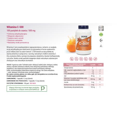 Witamina C 500 mg do ssania o smaku pomarańczowym (100 tabl.) NOW Foods